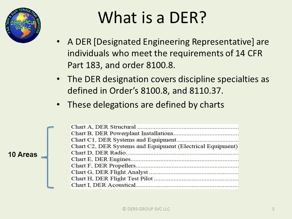What is a DER A DER [Designated Engineering Representative] are individuals who meet the requirements of 14 CFR Part 183, and order 8100.8.